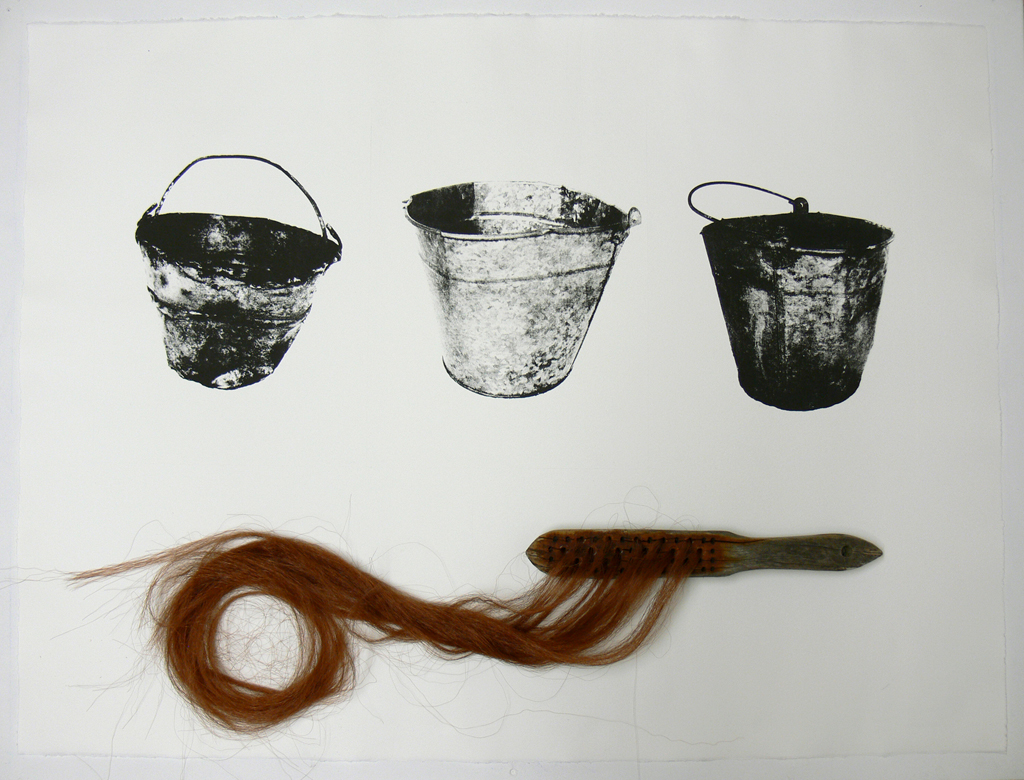 Galvanized Bucket triptych (hair)