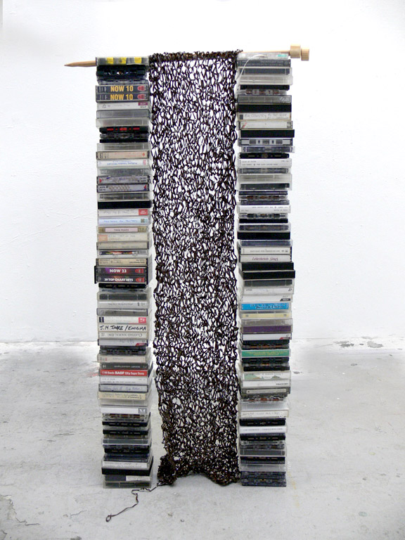 One blank cassette tape knitted